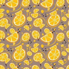 Oranges and Slices on Brown Background