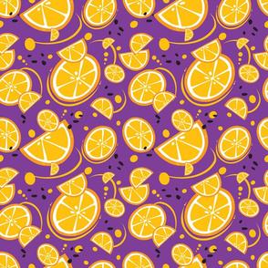 Oranges and Orange Slices on a Purple Background
