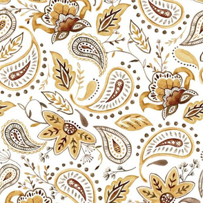 Lovely Paisley Florals Muted Yellow