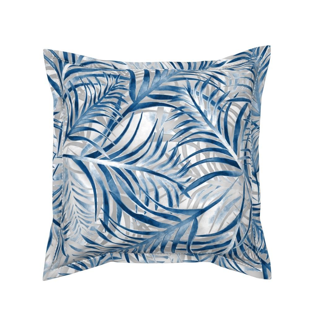 Serama Throw Pillow featuring parlour palm in blue by kociara