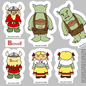 Beowulf cut and sew dolls softies plushies Grendel viking cute