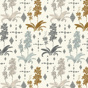 Couched Diamond Orchids - Medium - Stonewashed - Cream, Copper, Buff,  Light Aqua, Slate