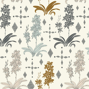 Couched Diamond Orchids - Large - Stonewashed - Cream, Buff, Copper, Light Aqua, Slate