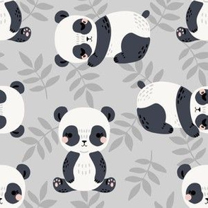 pandas and leaves