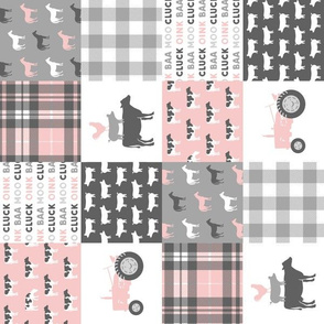 "(3"" small scale) farm life wholecloth patchwork with plaid - pink and grey (90) C19BS"