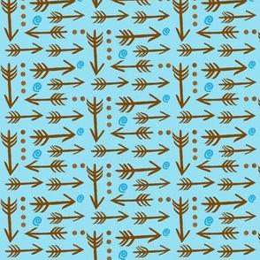 Wee little Woodlands / Boho Bunnies-Arrows - Brown on Blue