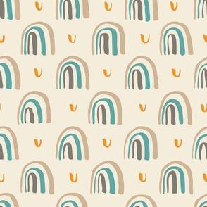 Neutral Retro Rainbows // Cream, Turquoise, Brown, Gray, Orange // Scandi Woodland Adventure Cheater Quilt Coordinate // Animals + Landscape // Texture, Shapes, Geometric, Modern Quilt