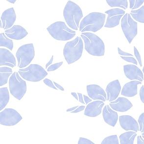 Neutral Purple Plumeria flowers on white