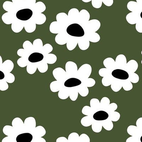Delicate flower white blossom minimal abstract retro daffodil daisy forest green modern black
