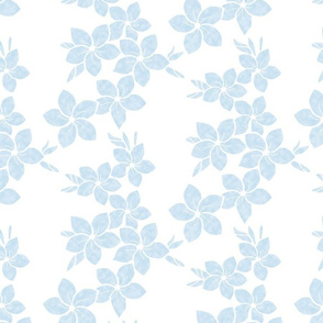Neutral Plumeria-light blue on white