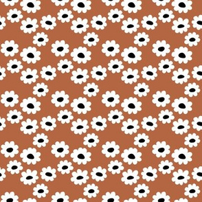 Delicate flower white blossom minimal abstract retro daffodil daisy modern rust copper brown black and white SMALL