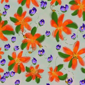 Bees Garden, purple, orange and green