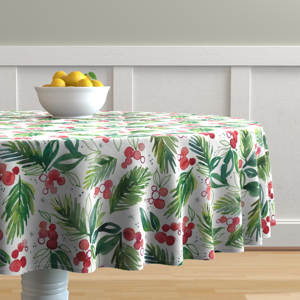 Malay Round Tablecloth featuring Winter Berry Sprig by ohn_mar_win