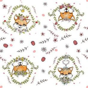 1108 Happy Fox Pattern 21 white