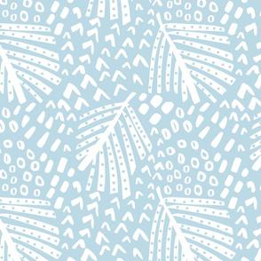 palm leaves blue