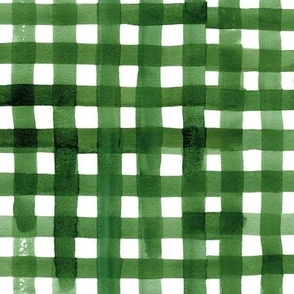 Christmas Green Watercolor Buffalo Check