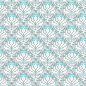 Art Deco Scalloped Detail - Blue Green Gray