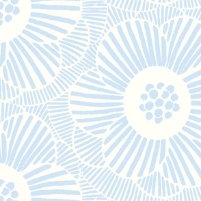 Overlapping Camellia flowers/light blue/large