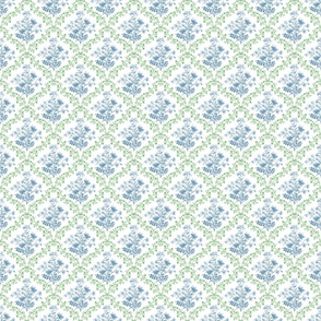 Vintage Floral Green and Blue Small