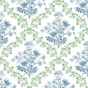 Vintage Floral Green Blue