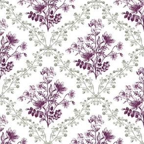 Vintage Floral Purple Green