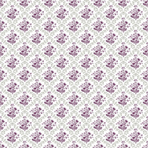 Vintage Floral Purple Green Small