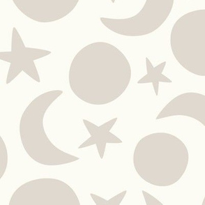 Moon and Stars cream and beige