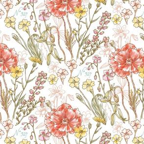 Vintage Botanical Flowers - White