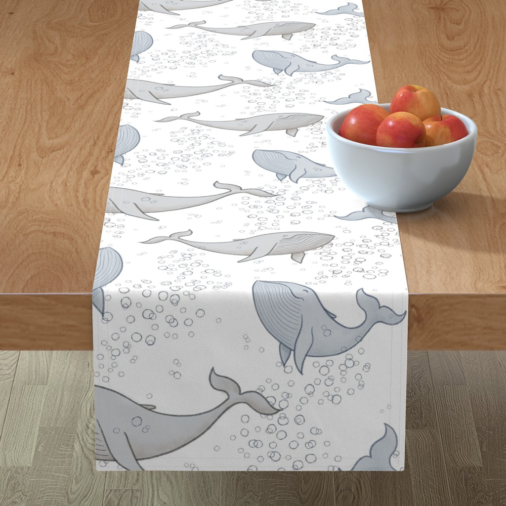 Minorca Table Runner featuring Blissful Whales with Bubbles by breetrulove