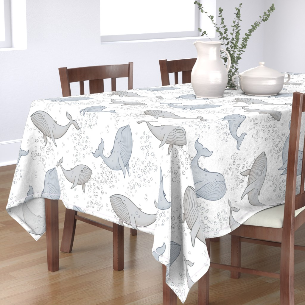 Bantam Rectangular Tablecloth featuring Blissful Whales with Bubbles by breetrulove