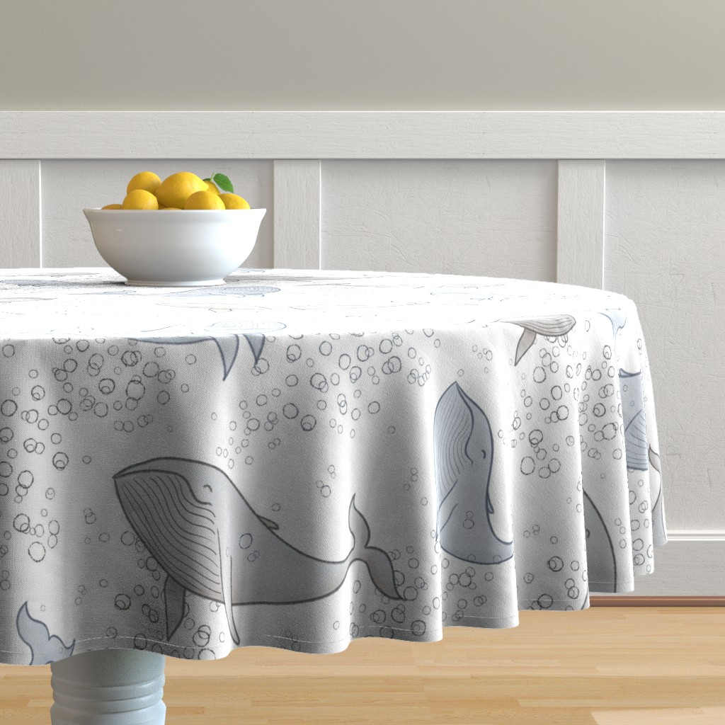 Malay Round Tablecloth featuring Blissful Whales with Bubbles by breetrulove