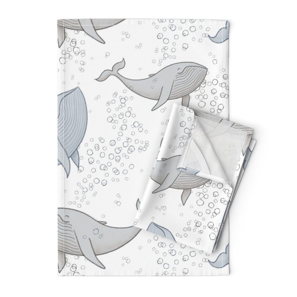 Orpington Tea Towels featuring Blissful Whales with Bubbles by breetrulove