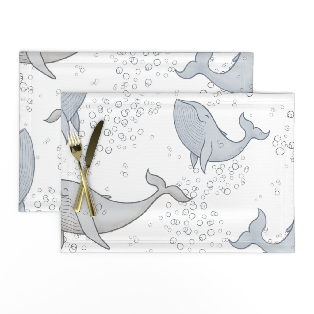 Lamona Cloth Placemats featuring Blissful Whales with Bubbles by breetrulove