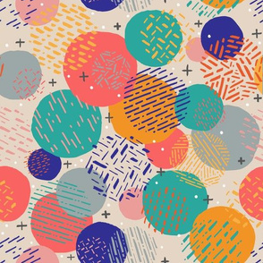 Party Circles // Colorful Geometric Shapes + Lines // © ZirkusDesign  // Birthday, Party, Celebration, Texture, Layer, Organic, Shapes, Yellow, Turquoise, Goldenrod, Blush, Grey