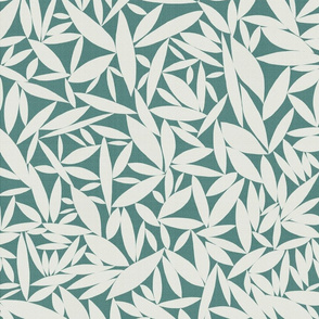 Neutral Leaves Teal mix