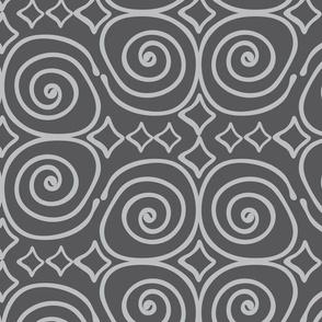 Swirl and Diamond-Dark Grey