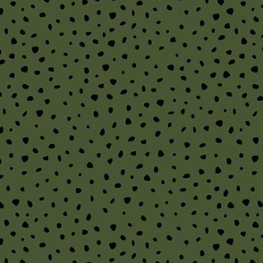 Little spots and speckles panther animal skin cheetah confetti abstract minimal dots in forest green SMALL