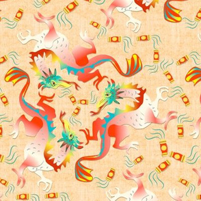 Dragons and Lanterns on Linen texture