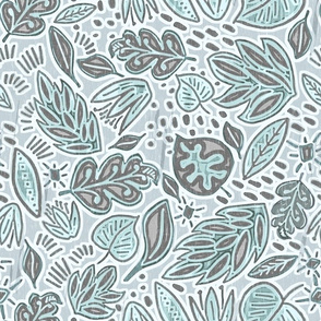 Botanical Linocut Retreat, blue