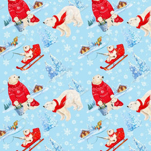 polar bear, Christmas, holiday, animals, cute