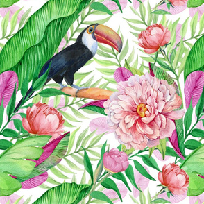 Toucan and flowers