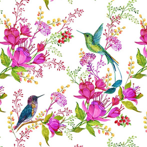 Watercolor flowers and hummingbirds