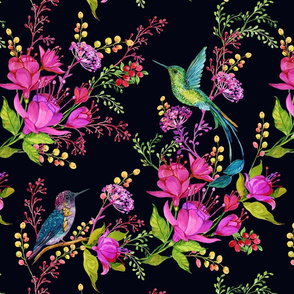 65Hummingbird, black, flowers, pink
