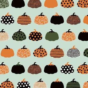 Fall fruit geometric pumpkin design Scandinavian style halloween pattern orange mint boys