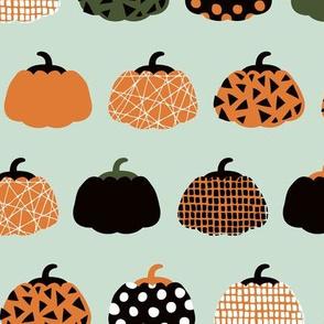 Fall fruit geometric pumpkin design Scandinavian style halloween pattern orange green mint boys LARGE