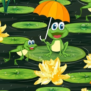 Frogs Enjoying Rain in Lily Pond Large