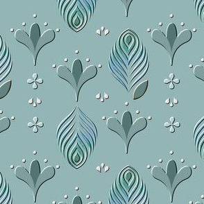 1010 ART DECO STYLE  Blue with Feathers