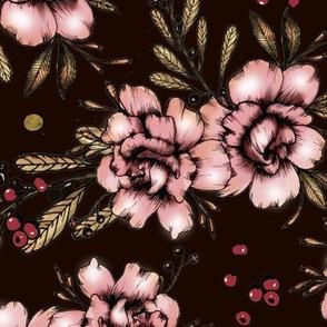 1025 Autumn Peonies on black