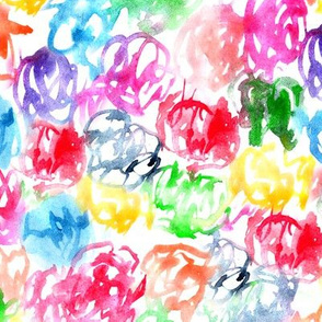 Rainbow mess • watercolor colorful scrawls