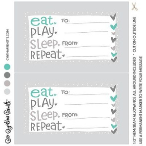 Quilt label- Eat Play Sleep Repeat- Turquoise